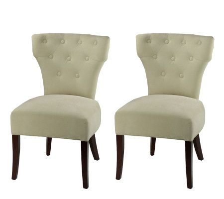 Side plush linen dining chair with button trim set of 2 - Plush dining room chairs ...