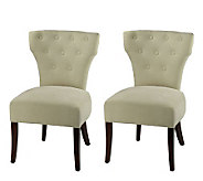 Side Plush Linen Dining Chair with Button Trim-Set of 2 - H183584