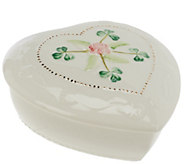 Belleek Heart Keepsake Box with Flower Detail - H194784