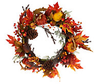 24 Pumpkin and Pomegranate Fall Foliage Wreath - H203384