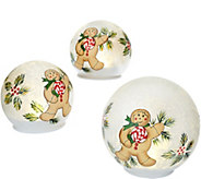 Set of 3 Illuminated Handpainted Frosted Spheres by Valerie - H205284