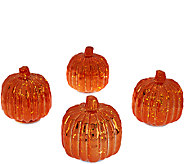 Set of 4 Illuminated Mercury Glass Harvest Accents by Valerie - H205784