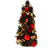 As Is 18 Velvet Rose, Berry and Pinecone Tabletop Tree - H210984
