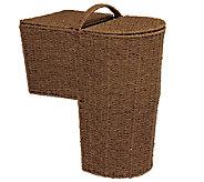 Household Essentials Paper Rope Stairstep Curved Basket w/ Lid - H285084