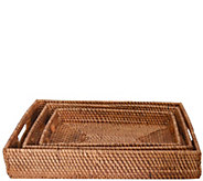 Set of 3 Wood and Rattan Trays by Valerie - H290484