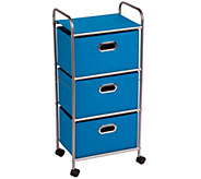 Honey-Can-Do Three-Drawer Fabric Storage Cart -Blue - H367384