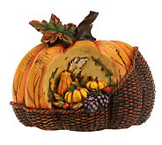 Basket Weave Pumpkin with Carved Harvest Accents by Valerie - H197285