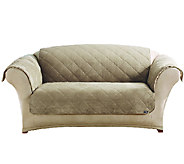 Sure Fit Reversible Faux Suede/Sherpa Loveseat Furniture Cover - H203785