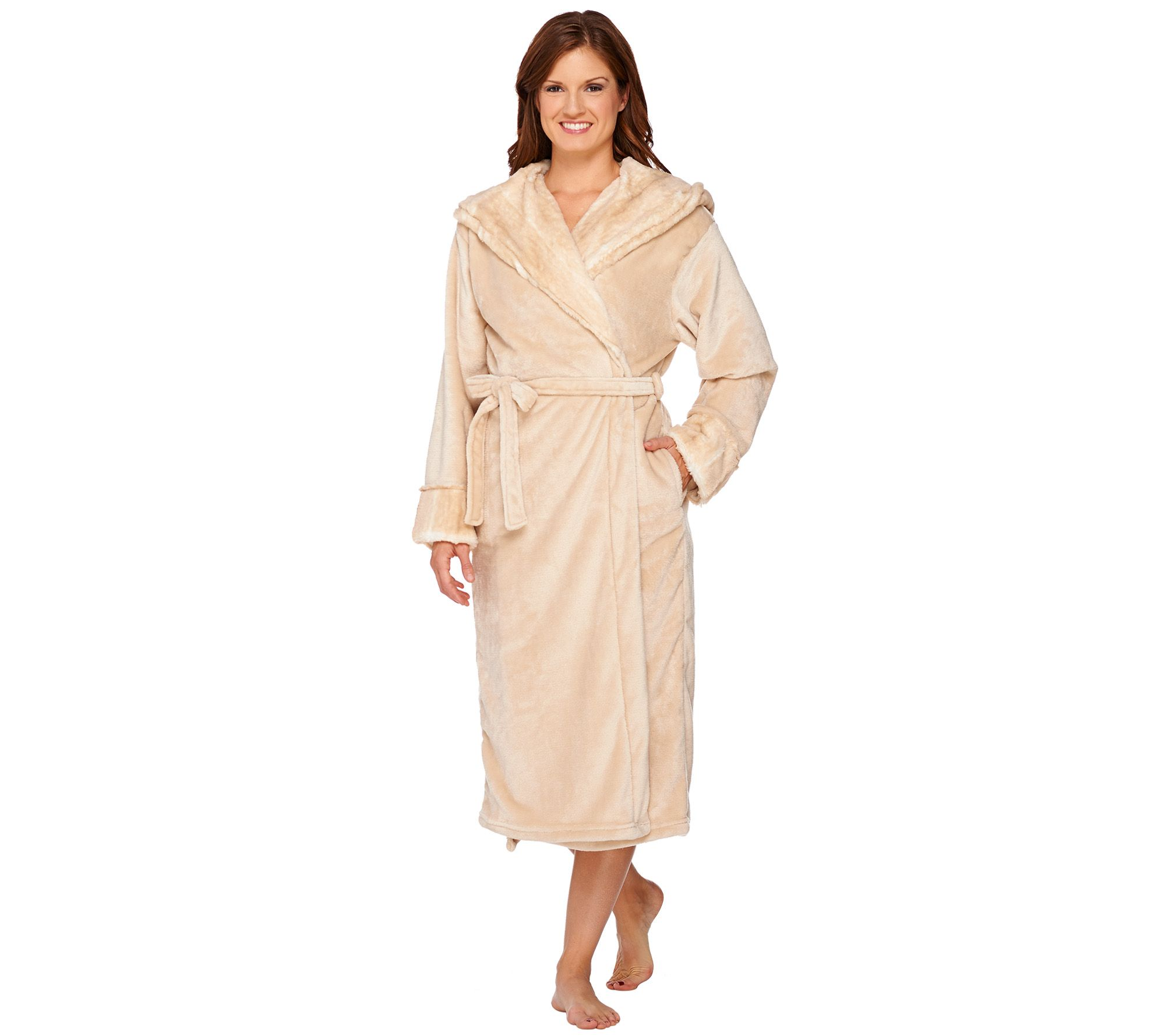 Dennis Basso Snuggly Plush   Faux Fur Hooded Robe - H206785 — QVC ... c85d6df1a