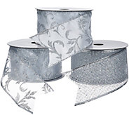 As Is Set of 3 2.5 Wide 10 Yard Wired Glitter Ribbons - H208285