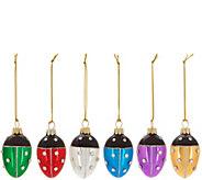 Joan Rivers Set of 6 Handpainted Mini Ladybug Egg Ornaments - H211485
