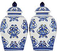 Set of (2) Illuminated 5.5 Damask Porcelain Urns by Valerie - H211685