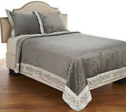 As Is Dennis Basso Alexandria Faux Micromink King Coverlet - H212085