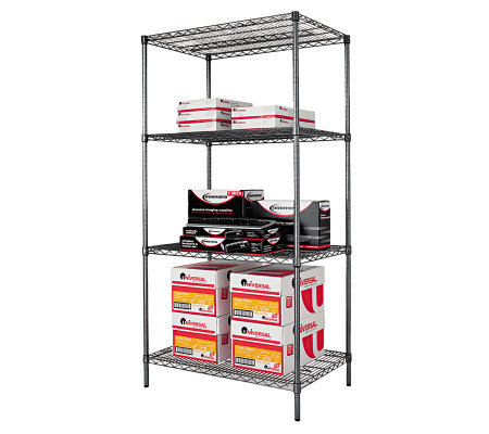 Alera 4 Shelf Wire Shelving Kit 36x24x72 Black