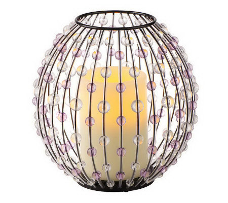 HomeReflections Beaded Sphere Holder with Flameless Candl with Timer