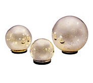As Is Set of 3 Lit Indoor Outdoor Mercury Glass Spheres with Timer - H201386