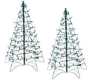 As Is Set/2 3 Pre-Lit Fold Flat Christmas Tree by Lori Greiner - H205086