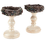 As Is Set of Bird Nest Pedestals by Valerie - H208086