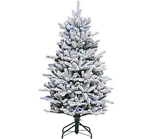 As Is Santa's Best 5' RGB 2.0 Flocked Balsam Fir Christmas Tree