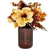Lit Mercury Glass Hurricane with Floral Arrangement by Valerie - H211486