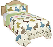 100Cotton Colorful Cat Full/Queen Quilt with Shams - H212386