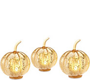 Set of 3 Lit Mercury Glass Pumpkins with Timers by Valerie - H213086