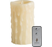 Luminara 7 Heavy Wax Drip Flameless Candle with Remote - H292386