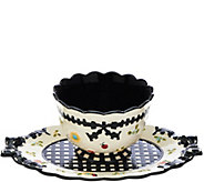 Temp-tations Gingham Garden Platter & Pedestal Bowl Set - H207487