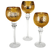 As Is Set of 3 Illuminated Ribbed Goblets by Valerie - H210487