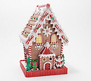 12 Illuminated Gingerbread Cottage with Timer by Valerie - H211687