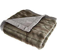 As Is Dennis Basso Platinum Luxe 50x60 Faux Fur Throw w/ Velvet Back - H212087