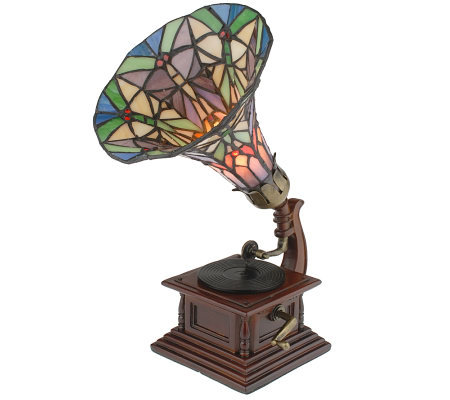 "Handcrafted Tiffany Style Gramophone 12-1/2"" Accent Lamp"