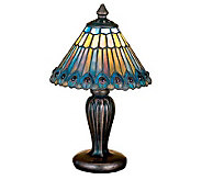 Meyda Tiffany Style Jeweled Peacock Mini Lamp - H112388