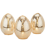 Set of 3 Illuminated Vintage Glass Eggs by Valerie - H204888