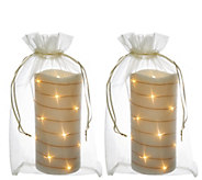 Lightscapes (2) 7 Glitter Swirl Light Flameless Candles w/ Bags - H209588