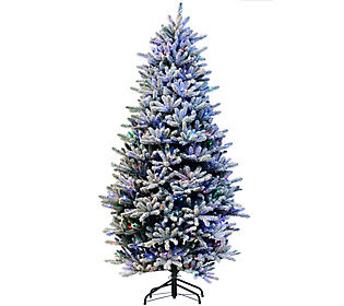 As Is Santa's Best 7.5' RGB 2.0 Flocked Balsam Fir Christmas Tree