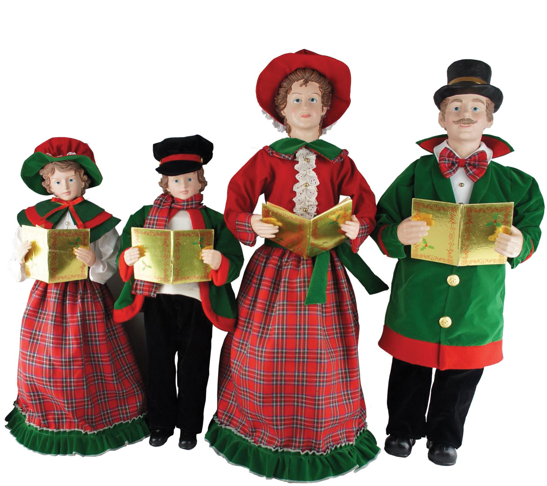 "Victorian Christmas Carolers Decorations: Set Of 4 27"" To 37"" Christmas Day Carolers By Santa's"