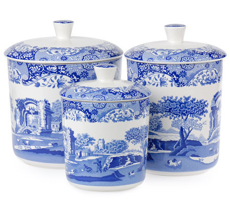 Spode Blue Italian Set of 3 Ceramic Canisters