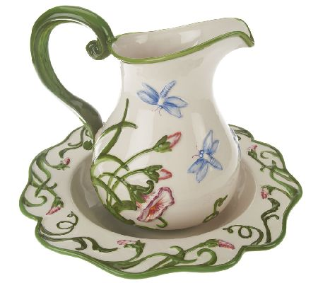 Temp-tations Figural Dragonfly Pitcher and Bowl Set - H202689