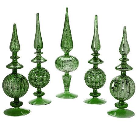 Set Of 5 Elegant Mercury Glass Finials H205989 Qvc Com