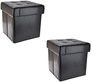 Set of 2 Faux Leather Fold-up Storage Ottomans w/Tray by Valerie - H206989