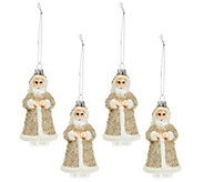 As Is Set of 4 Embellished Glass Vintage Inspired Ornaments - H208289