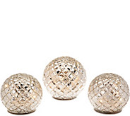 Set of 3 Illuminated Diamond Pattern Spheres by Valerie - H209789