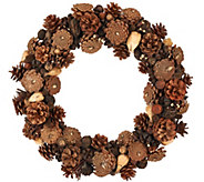 As Is Ed On Air Natural Rustic 17 Pinecone Wreath Ellen DeGeneres - H210589