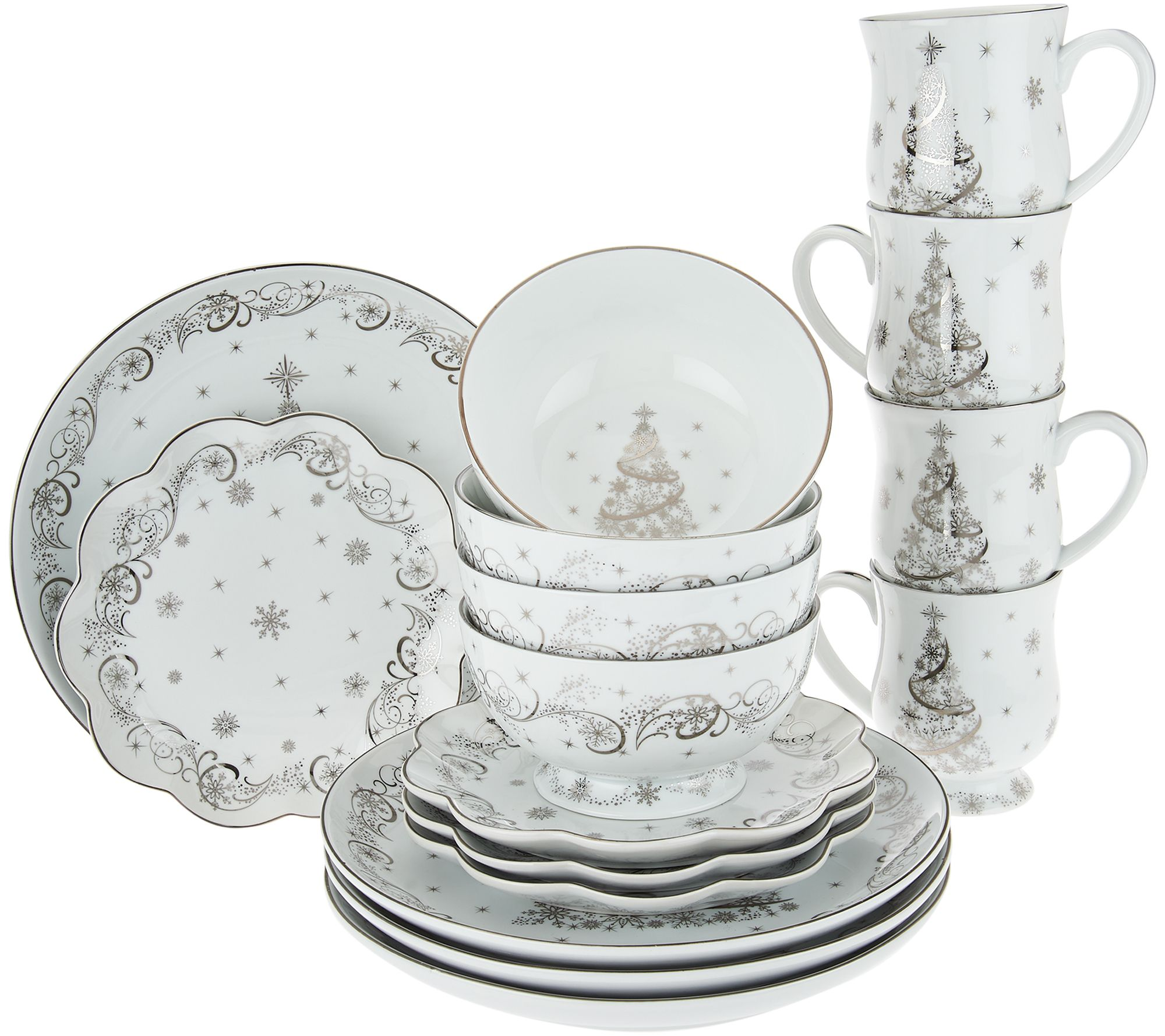 Quot As Is Quot Temp Tations 16 Pc Dinnerware Set Choice Winter Christmas Eve Page 1 Qvc Com