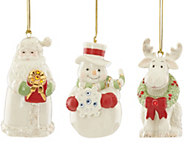 Lenox Set of 3 Porcelain Ornaments with Gem Details - H289289
