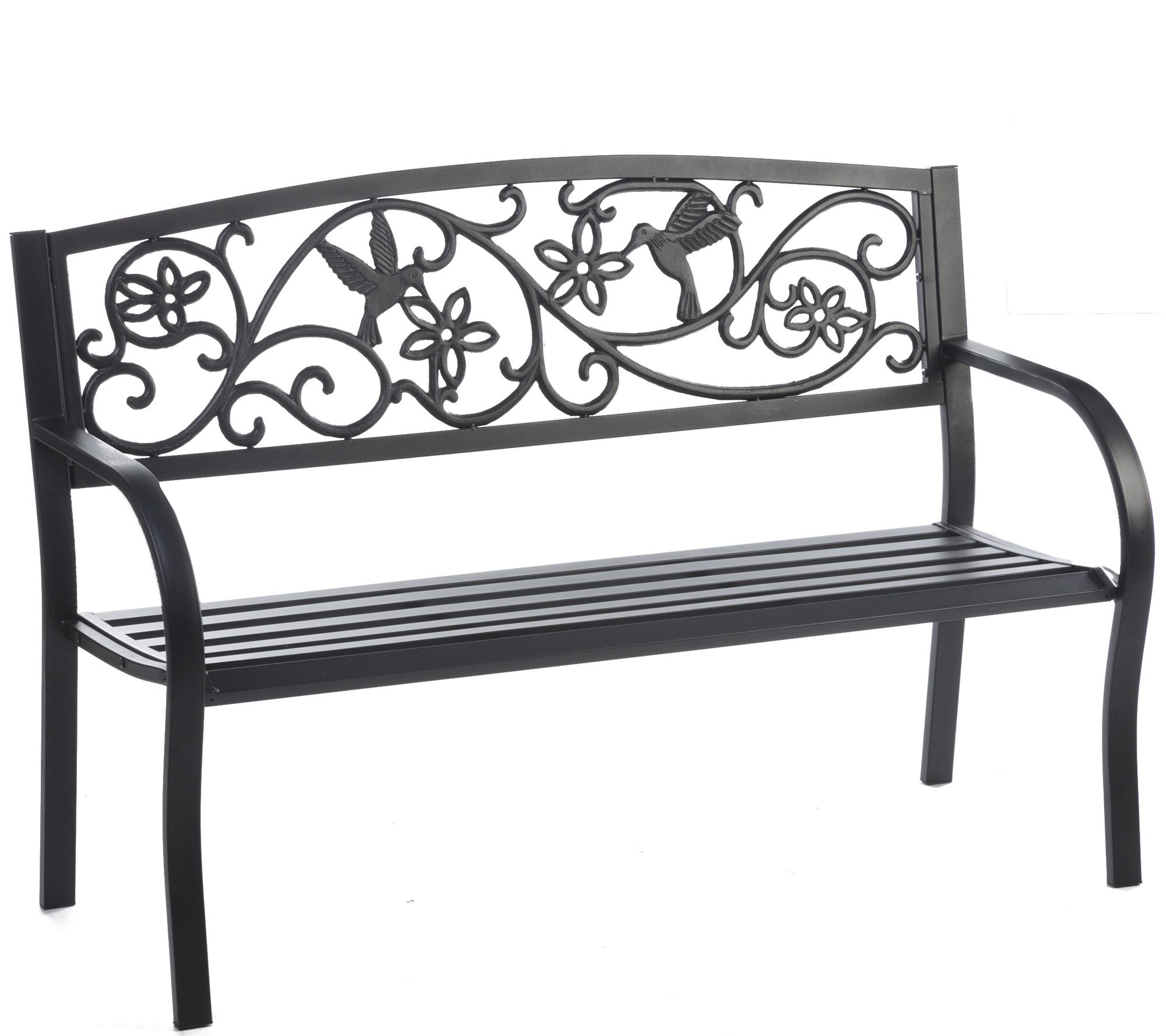 Plow U0026 Hearth Hummingbird Metal Garden Bench   H289389 Part 41