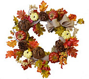 24 Fall Pumpkin and Leaf Wreath by Valerie - H289889