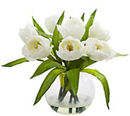 Tulips Arrangement with Vase by Nearly Natural - H296989