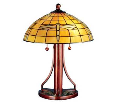 Tiffany style 22quoth arts and crafts dragonfly table lamp for Tiffany floor lamp qvc